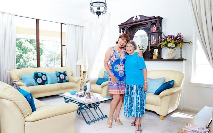 Kathy Lette at home with her mum - David Harn