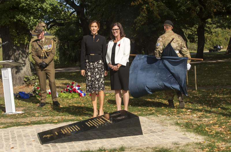 Crown Princess Mary of Denmark (L) and Mary Ellen Miller, Australian Ambassador to Denmark, during their joint wreath laying at the official inauguration of the Australian War Monument at the Churchill Memorial Park on September 17, 2020 in Copenhagen, Denmark. The monument commemorates Australian service personnel who lost their lives in Denmark during both the First and Second World Wars. The memorial was developed and funded by the Australian Embassy in Copenhagen with the assistance of a grant from the Australian Department of Veterans Affairs. Also present at the ceremony was representatives at embassies from USA, Germany, New Zealand, Canada, United Kingdom and France.