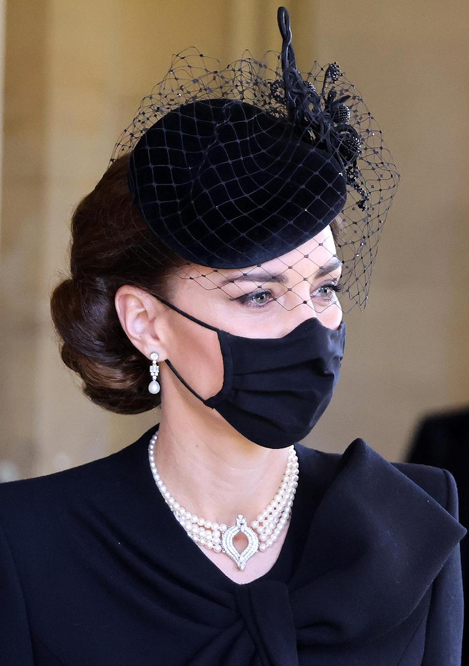 <p>The four-strand pearl necklace was made for Queen Elizabeth, who has allowed Princess Diana and Kate Middleton to borrow it. Kate most recently wore the piece at Prince Philip's funeral in April 2021.</p>