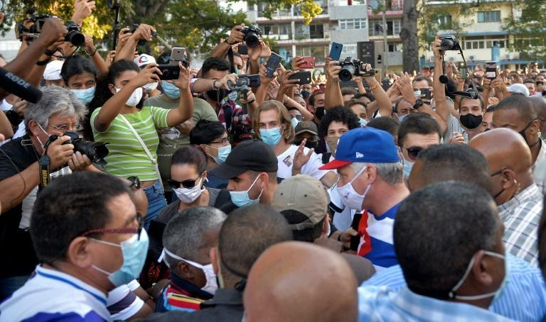 Cuban President Miguel Diaz-Canel arrives at a concert rally to condemn the San Isidro movement in Havana on November 29, 2020