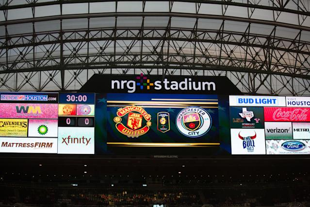 "NRG Stadium, home of the <a class=""link rapid-noclick-resp"" href=""/nfl/teams/hou/"" data-ylk=""slk:Houston Texans"">Houston Texans</a>, hosted a match between <a class=""link rapid-noclick-resp"" href=""/soccer/teams/manchester-united/"" data-ylk=""slk:Manchester United"">Manchester United</a> and the <a class=""link rapid-noclick-resp"" href=""/soccer/teams/manchester-city/"" data-ylk=""slk:Manchester City"">Manchester City</a> in July. (Getty)"