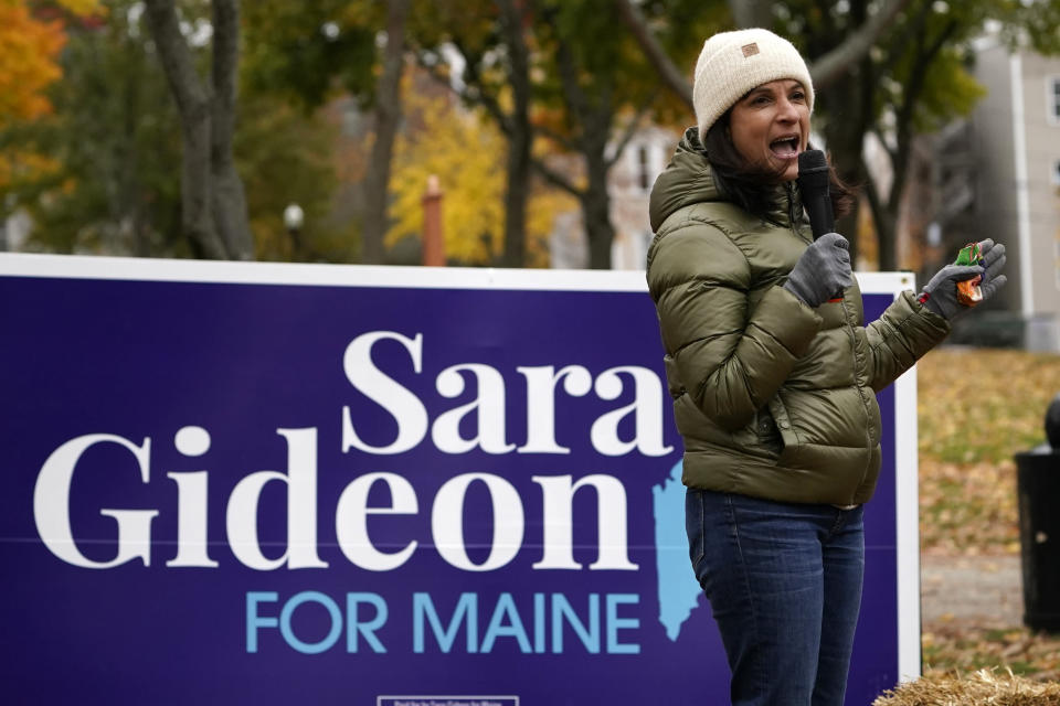 Sara Gideon, Democratic candidate for U.S. Senate, speaks to Bates College students Friday, Oct. 30, 2020, in Lewiston, Maine. Gideon, the speaker of the Maine House, is challenging incumbent Republican Sen. Susan Collins. (AP Photo/Robert F. Bukaty)
