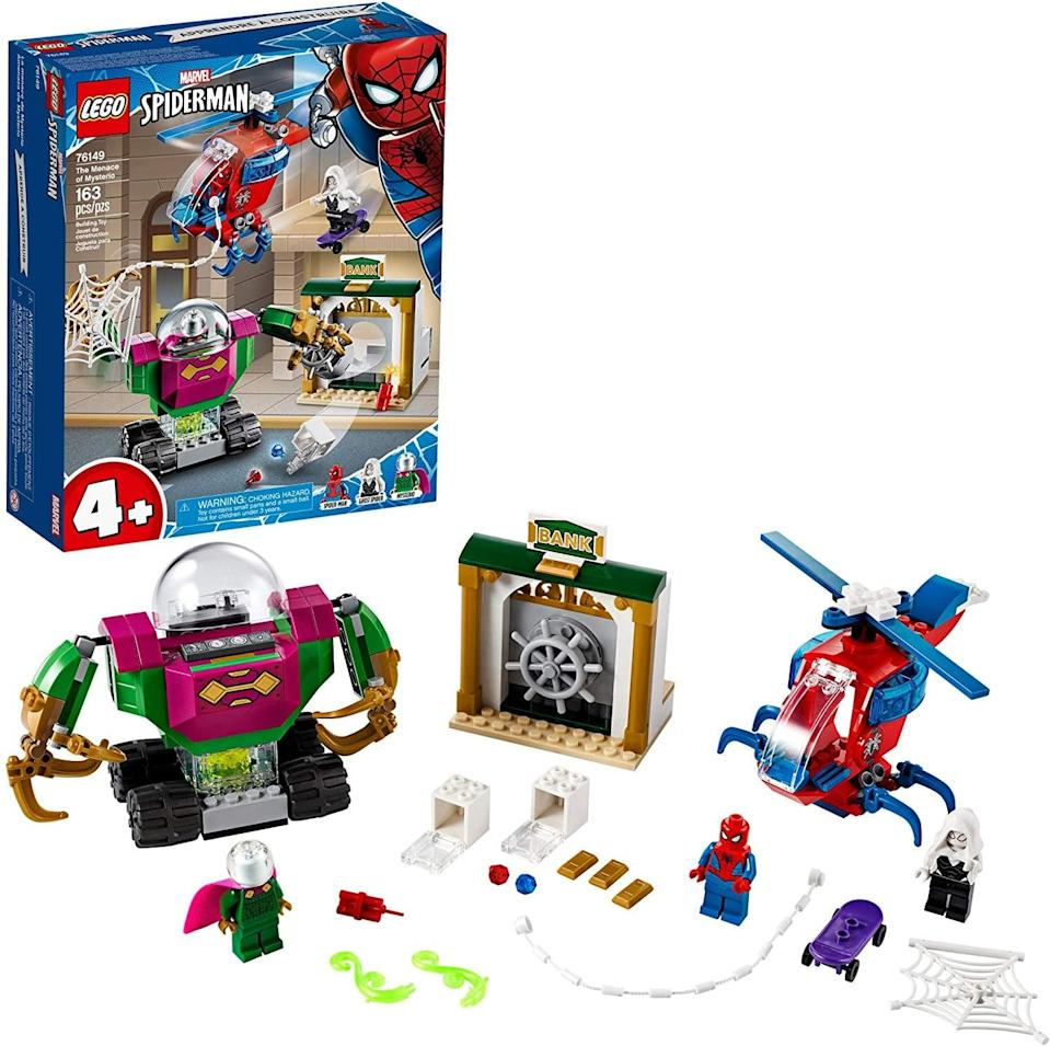 "<p><a href=""https://www.popsugar.com/buy/Lego-Spider-Man-Menace-Mysterio-551167?p_name=Lego%20Spider-Man%20The%20Menace%20of%20Mysterio&retailer=amazon.com&pid=551167&price=30&evar1=moms%3Aus&evar9=47244751&evar98=https%3A%2F%2Fwww.popsugar.com%2Ffamily%2Fphoto-gallery%2F47244751%2Fimage%2F47244761%2FLego-Spider-Man-Menace-Mysterio&list1=toys%2Clego%2Ctoy%20fair%2Ckid%20shopping%2Ckids%20toys&prop13=api&pdata=1"" class=""link rapid-noclick-resp"" rel=""nofollow noopener"" target=""_blank"" data-ylk=""slk:Lego Spider-Man The Menace of Mysterio"">Lego Spider-Man The Menace of Mysterio</a> ($30) has 163 pieces and is best suited for kids ages 4 and up.</p>"