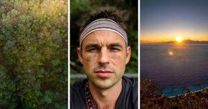 The photo collage shows Ryan Hevern (middle), the eastern cliff pictured in Hualien (right) and the forest from the bird's eye view. (Courtesy of Ryan Hevern)