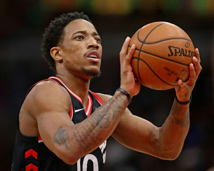 DeMar DeRozan of the Toronto Raptors made 11 of 22 shots and matched his career-high of six three-pointers as the Raptors demolished the Portland Trail Blazers 130-105