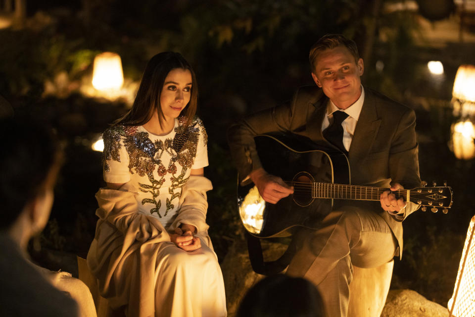 Hazel Green (Cristin Milioti) tamps down her horror as Byron Gogol (Billy Magnussen) launches into his cover of WAP. Picture: Stan