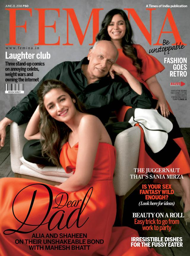 <p>Alia Bhatt turned cover girl for the June 2016 edition of Femina. Well, what was special was that this time, the actress did not pose alone. The cover captured her along with her father Mahesh Bhatt and her elder sister Shaheen Bhatt. The sister stunned in a burnt-orange outfit, while daddy dearest stuck to a simple black shirt. The issue focuses on Alia and Shaheen's unshakable bond with Mahesh.</p>