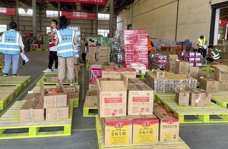 Boxes of merchandise are seen arranged on pallets inside a warehouse of Alibaba Group Holding's MMC business unit in Nanchang, capital of eastern China's Jiangxi province, on June 11, 2021. Photo: Tracy Qu