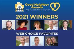 2021 Good Neighbor Award winners (left to right): Bob Bell, Sydney Ealy, Christina Sauger, Brent Gieseke and Kibe Lucas.  Web Choice 2021 Favorites (left to right): Brent Gieseke, Raymond Siddell, Denny Moore and Linda Ellsworth-Moore.