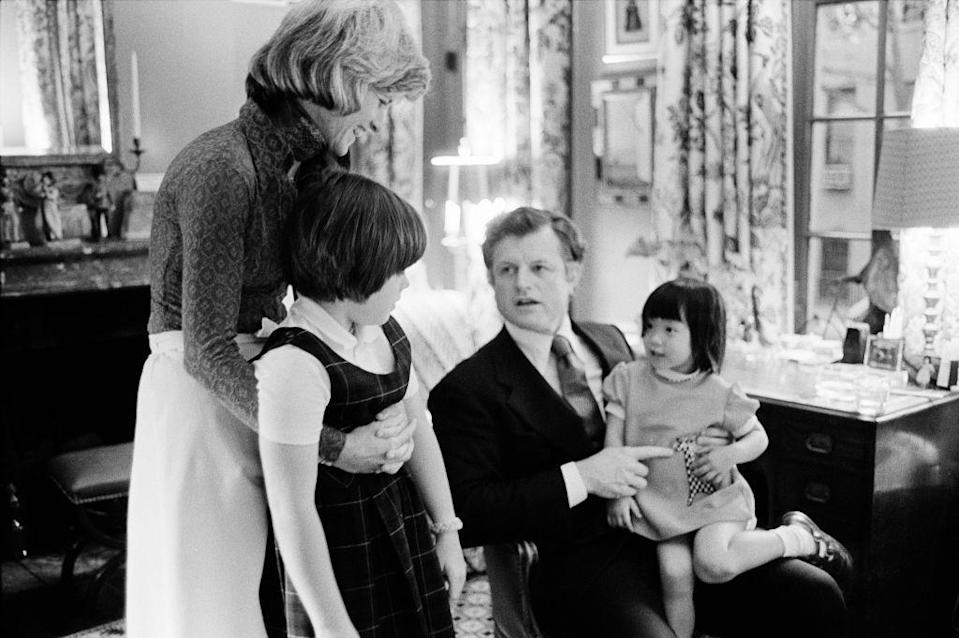 <p>Senator Ted Kennedy visits his sister and her daughters in their Upper West Side town house in New York. Kennedy holds one of his nieces, Kym Smith, on his lap as the other Amanda Smith, looks on.</p>