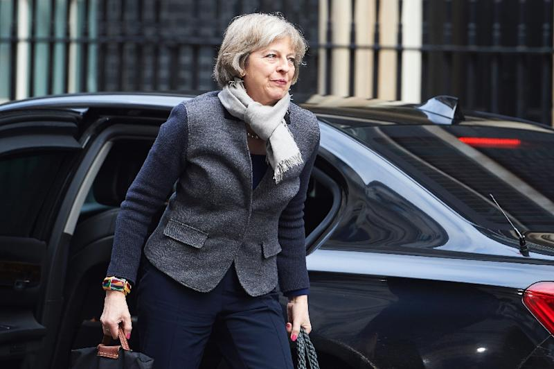 British Home Secretary Theresa May arrives at Downing Street in London on February 20, 2016 for a meeting of the cabinet following Prime Minister David Cameron's return from EU negotiations in Brussels (AFP Photo/Niklas Halle'n)