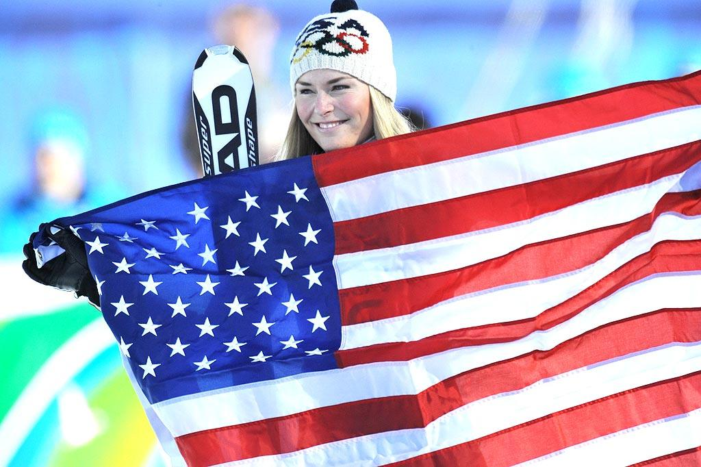 """USA's Olympic darling Lindsey Vonn skied to victory in the Women's Downhill at the Vancouver 2010 XXI Olympic Winter Games, winning gold despite her much discussed shin injury. A/<a href=""""http://www.x17online.com"""" target=""""new"""">X17 Online</a> - February 17, 2010"""
