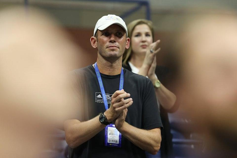 Andrew Richardson, coach of Emma Raducanu of Great Britain, cheers at the US Open (Getty)