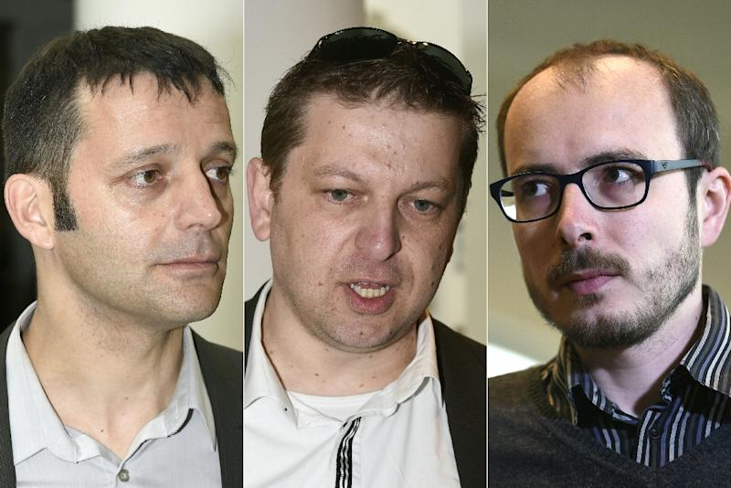 (Left to Right) Edouard Perrin, Raphael Halet and Antoine Deltour all stood trial over the so-called LuxLeaks scandal (AFP Photo/)