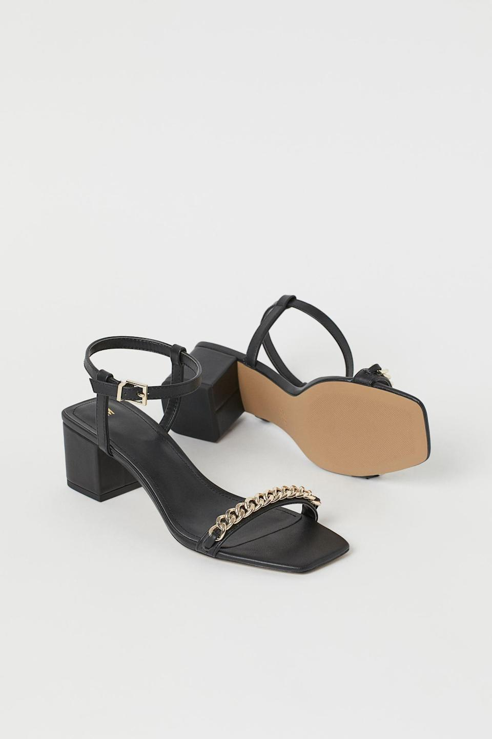 <p>These <span>Chain-detail Sandals</span> ($35) are so polished.</p>