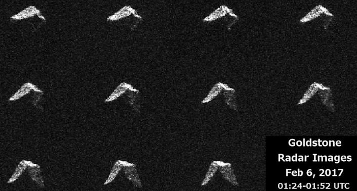 This 11-image composite of asteroid 2017 BQ6 was created by radar data from NASA's Goldstone Solar System Radar in California's Mojave Desert, Feb. 5, 2017, just five hours before the space rock's closest approach to Earth.
