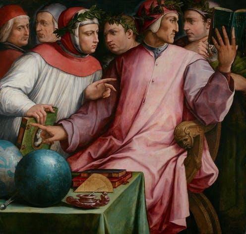 """<span class=""""caption"""">Six Tuscan Poets by Giorgio Vasari, 1544. Dante Alighieri, Giovanni Boccaccio, Petrarch, Cino da Pistoia, Guittone d'Arezzo and Guido Cavalcanti are depicted in the oil painting.</span> <span class=""""attribution""""><a class=""""link rapid-noclick-resp"""" href=""""https://commons.wikimedia.org/wiki/File:Giorgio_Vasari_-_Six_Tuscan_Poets_-_Google_Art_Project.jpg"""" rel=""""nofollow noopener"""" target=""""_blank"""" data-ylk=""""slk:Wikimedia/MIA"""">Wikimedia/MIA</a></span>"""