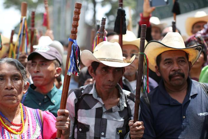 """<div class=""""inline-image__caption""""> <p>""""Indigenous leaders participate in a demonstration against of Guatemalan President Jimmy Morales and his decision to expel Ivan Velasquez, head of the International Commission Against Impunity in Guatemala (CICIG) outside the CICIG headquarters in Guatemala City, Guatemala August 29, 2017. REUTERS/Jose Cabezas""""</p> </div> <div class=""""inline-image__credit""""> REUTERS </div>"""