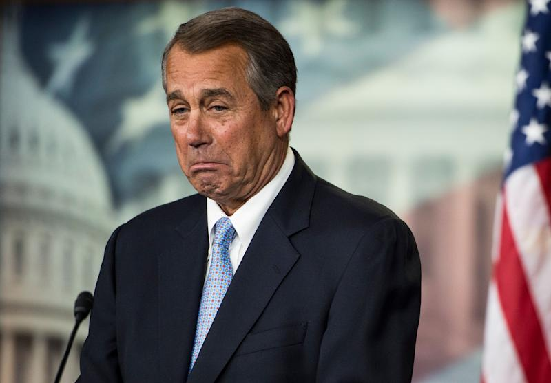 Speaker of the House John Boehner (R-Ohio) holds his weekly press conference in the Capitol on Feb. 5, 2015.