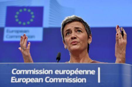 EU Commissioner Vestager holds a news conference in Brussels