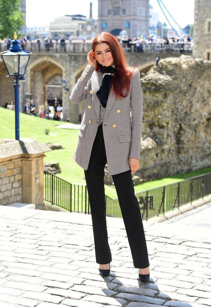 <p>Zendaya donned a Alexander Vauthier suit for a photo call for <em>Spider-Man: Far From Home.</em></p>