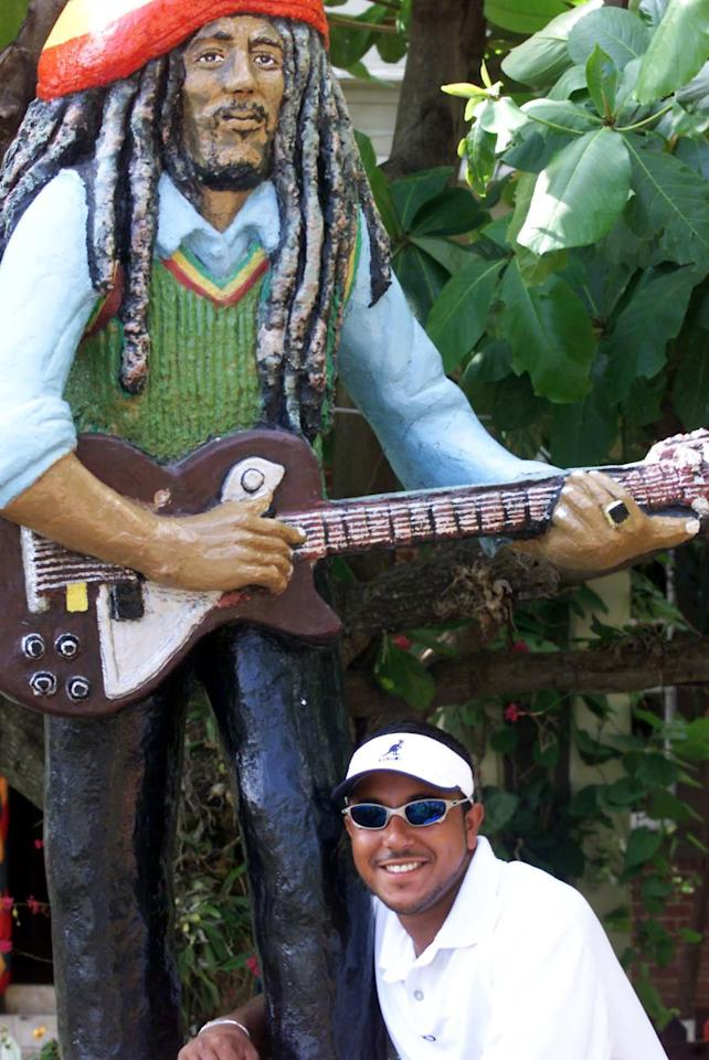26 Apr 2001:  Paul Adams poses outside the Bob Marley museum in Kingston Jamaica during the South African tour to the West Indies. DIGITAL IMAGE Mandatory Credit: Touchline Photo/ALLSPORT