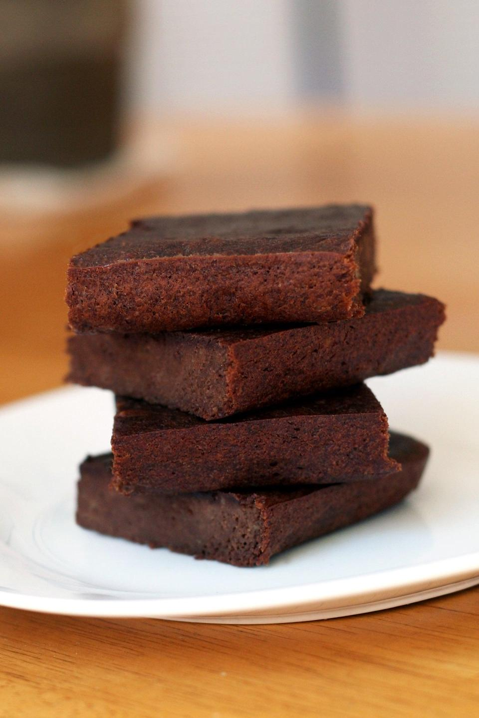 """<p>You probably already have everything you need to make these brownies, except maybe the patience to wait for them to cook! </p> <p><strong>Get the recipe:</strong> <a href=""""https://www.popsugar.com/fitness/Healthy-Brownie-Recipe-43329566"""" class=""""link rapid-noclick-resp"""" rel=""""nofollow noopener"""" target=""""_blank"""" data-ylk=""""slk:three-ingredient brownies"""">three-ingredient brownies</a></p>"""