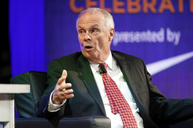 Former Wisconsin coach, Bo Ryan, talks about his career during a National Collegiate Basketball Hall of Fame induction event, Sunday, Nov. 19, 2017, in Kansas City, Mo. (AP Photo/Colin E. Braley)