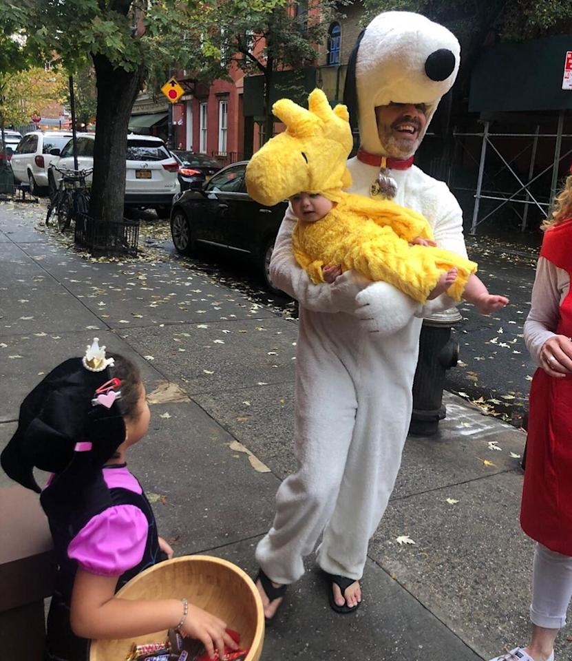 """Ben's first <a href=""""https://people.com/parents/halloween-2019-celebrity-kids-costumes/"""">Halloween</a> was a success! The 9-month-old dressed up as Woodstock and Dad went as his trusty friend Snoopy."""