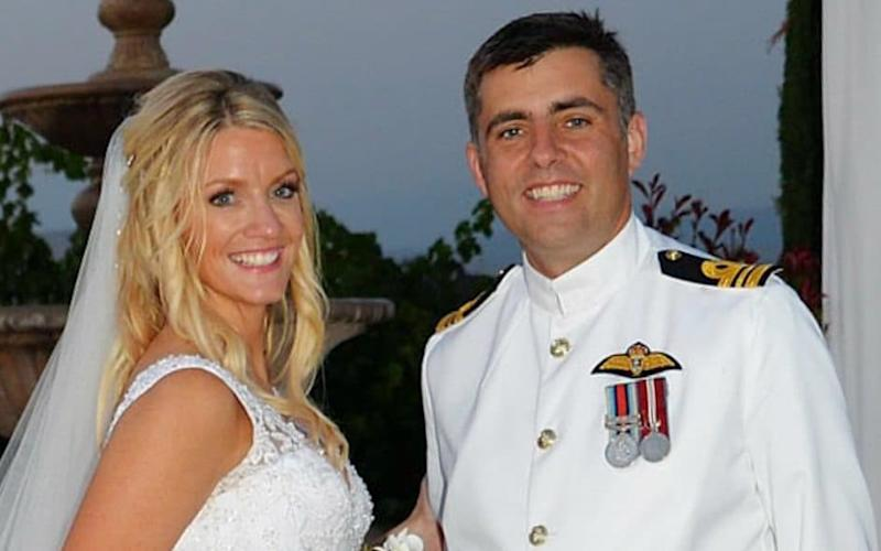 Commander Simon Rawlins and his wife Marianne celebrate their wedding