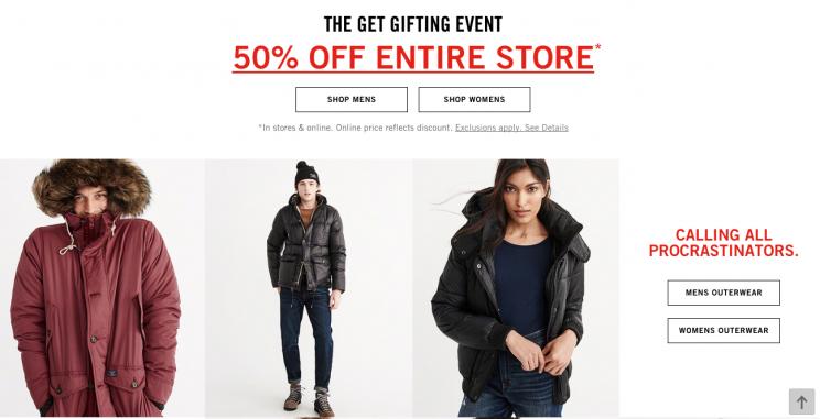 Check your favorite store's website — if it looks like this, then shop away. (Photo: Courtesy of Abercrombie and Fitch)