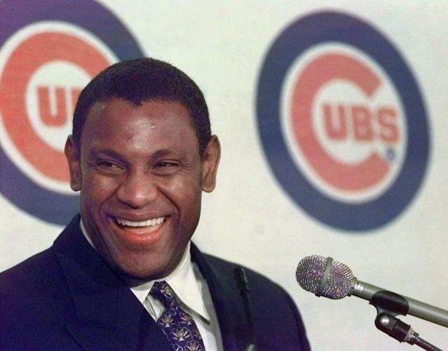 Cubs outfielder Sammy Sosa at his NL MVP news conference in 1998. (AP Photo)
