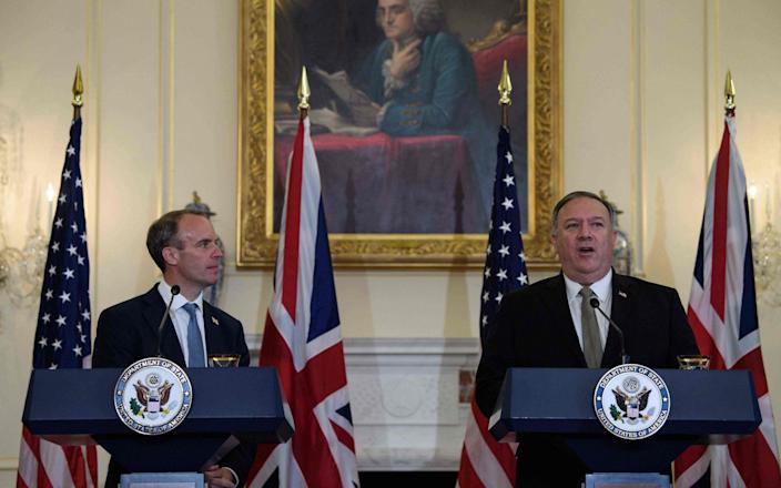 US Secretary of State Mike Pompeo speaks at a press conference with British Foreign Secretary Dominic Raab - NICHOLAS KAMM/POOL/AFP via Getty Images
