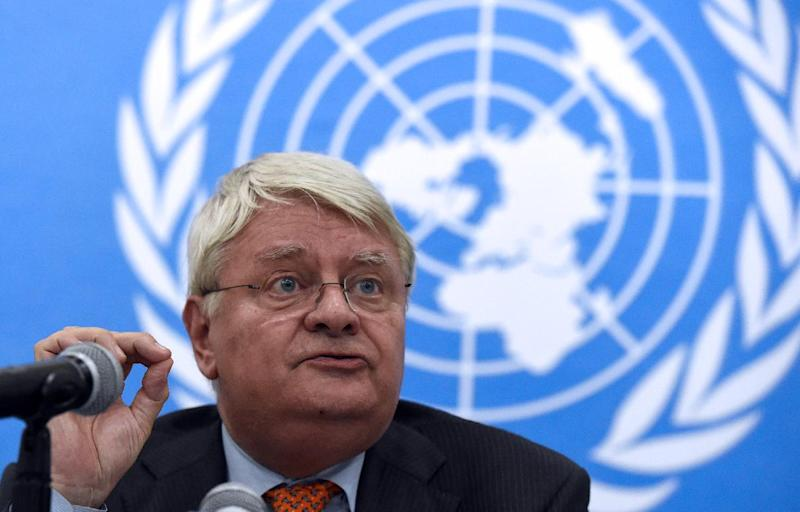 The United Nations under-Secretary-General for Peacekeeping Operations, Herve Ladsous, speaks during a press conference on May 3, 2014, in Bangui (AFP Photo/Issouf Sanogo)