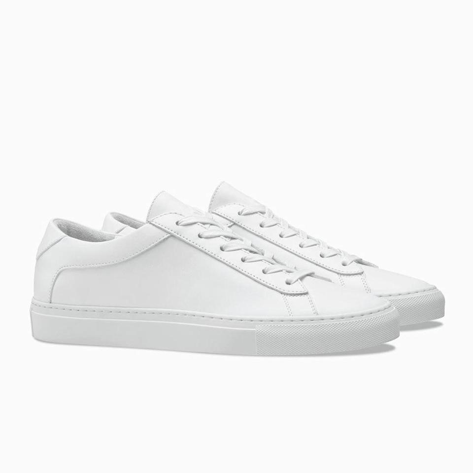 """<p>It's officially summer, which means every man needs a classic white sneaker in their wardrobe. These chic low-top ones - handcrafted in Italy and set on a durable rubber sole - are versatile enough to wear with athleisure shorts, jeans, chinos or even a sport coat, and are bound to become a staple accessory for the dad in your life.</p> <p><strong>Buy It!</strong> KOIO Capri Triple White Sneakers, $268; <a href=""""https://www.koio.co/collections/fathers-day-edit-1/products/capri-triple-white-men?variant=32069053972516"""" rel=""""nofollow noopener"""" target=""""_blank"""" data-ylk=""""slk:koio.com"""" class=""""link rapid-noclick-resp"""">koio.com</a></p>"""