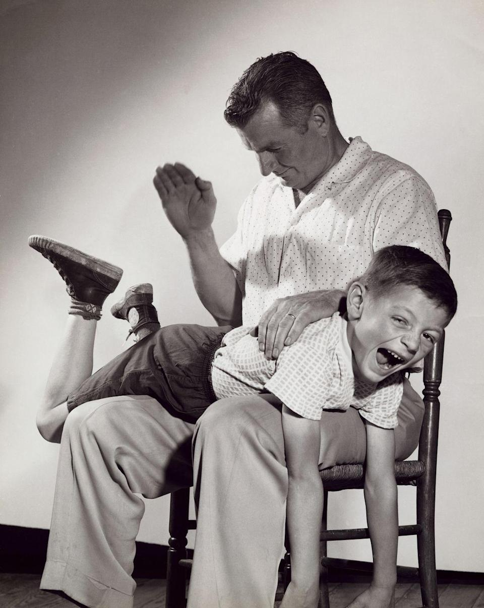 """<p><span>Back in the day, parents hit you because that's what parents did when you angered them. It may have been just a smack on the head, or literally being put over dad's knee for a spanking. Sometimes it was getting chased around the house and hit with a belt. Parents raised with that kind of discipline tended to continue the pattern. In many homes a common threat was: """"Just wait until your father gets home."""" It took a while for <a href=""""http://www.sciencedirect.com/science/article/pii/S014521341400101X """" rel=""""nofollow noopener"""" target=""""_blank"""" data-ylk=""""slk:people to recognize"""" class=""""link rapid-noclick-resp"""">people to recognize</a> that physical punishment was abuse. It landed <a href=""""http://www.jstor.org/stable/353384?seq=1#page_scan_tab_contents"""" rel=""""nofollow noopener"""" target=""""_blank"""" data-ylk=""""slk:many traumatized baby boomers in therapy"""" class=""""link rapid-noclick-resp"""">many traumatized baby boomers in therapy</a>, years later.</span><br></p>"""