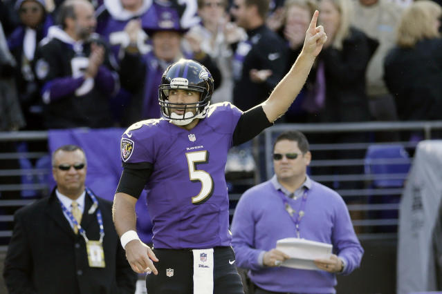 Baltimore Ravens quarterback Joe Flacco reacts to tight end Dallas Clark touch down catch during the first half of a NFL football game against the Cincinnati Bengals in Baltimore, Sunday, Nov. 10, 2013. (AP Photo/Patrick Semansky)