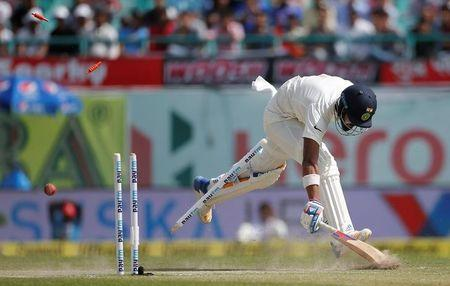 Cricket - India v Australia - Fourth Test cricket match - Himachal Pradesh Cricket Association Stadium, Dharamsala, India - 28/03/17 - India's Lokesh Rahul successfully completes a run. REUTERS/Adnan Abidi
