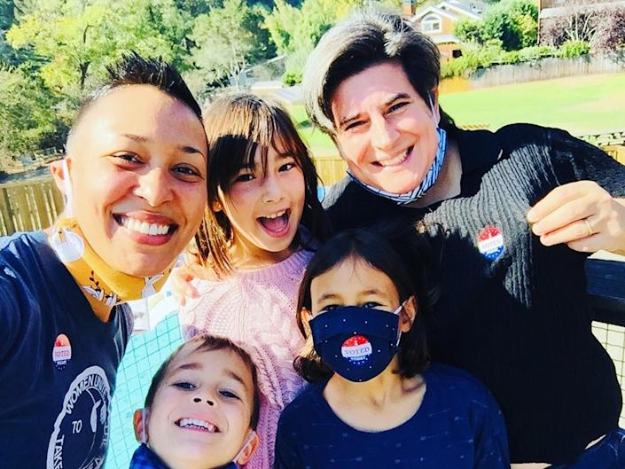 Fiona Miller and her wife snapped a photo with their children after voting in the historic election. (Courtesy Fiona Miller)