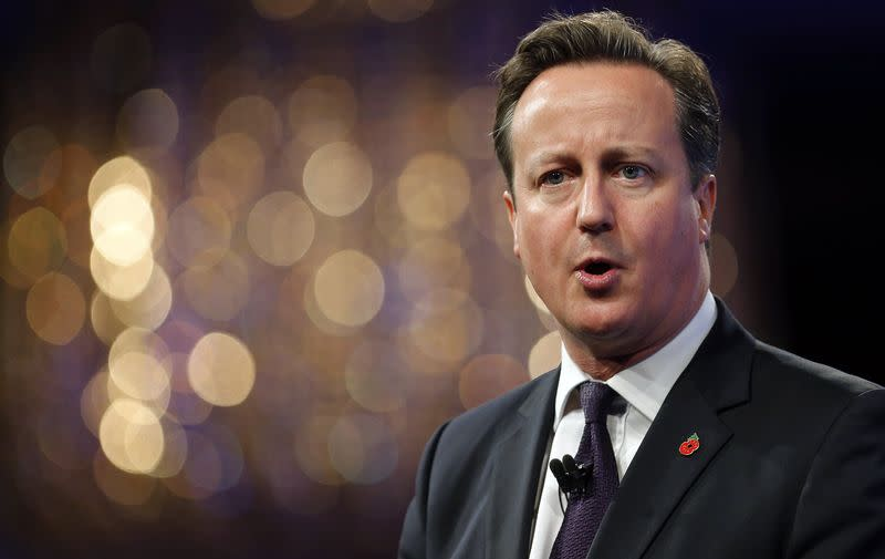 Britain's Prime Minister Cameron speaks at the Confederation of British Industry annual conference in London