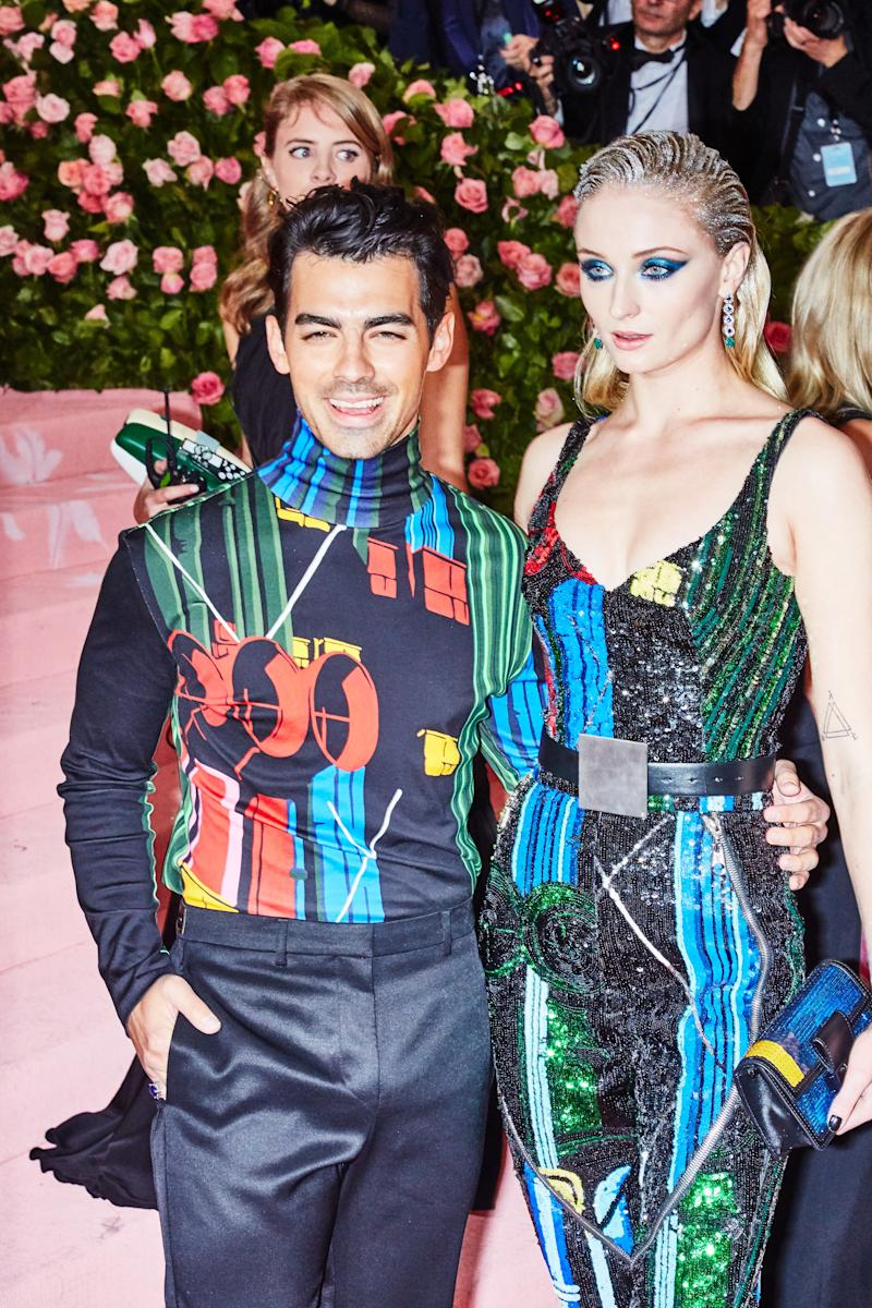 Joe Jonas and Sophie Turner on the red carpet at the Met Gala in New York City on Monday, May 6th, 2019. Photograph by Amy Lombard for W Magazine.