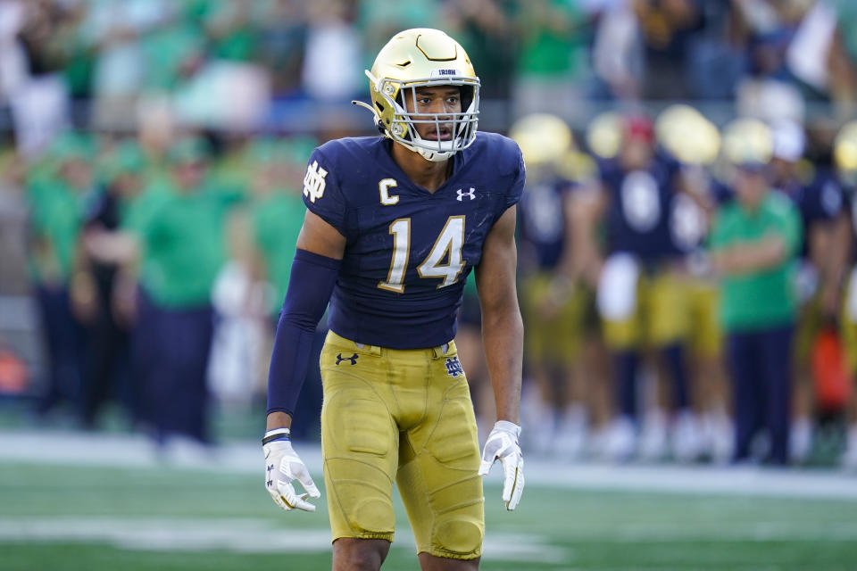 Notre Dame safety Kyle Hamilton looks to be the best prospect at his position and one of the best in the 2022 NFL draft class. (AP Photo/Michael Conroy)