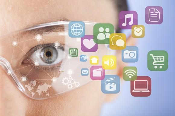 Conceptual illustration of augmented reality smart glasses