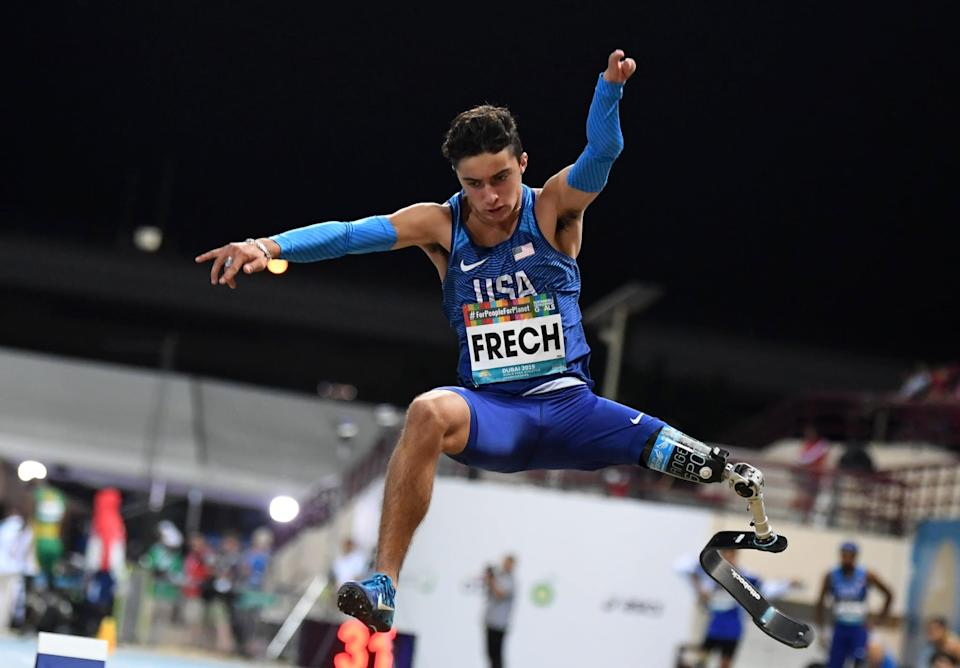"""<p>At the 2019 World Para Athletics Championships, Frech was the <a href=""""http://www.clevelandjewishnews.com/jta/ezra-frech-moran-samuel-shraga-weinberg-and-more-11-jewish-paralympics-athletes-to-watch/article_c34e023d-e23e-5354-b502-cb27cc7af478.html"""" class=""""link rapid-noclick-resp"""" rel=""""nofollow noopener"""" target=""""_blank"""" data-ylk=""""slk:youngest athlete to compete"""">youngest athlete to compete</a>. He was 14 years old and came in <a href=""""http://www.teamusa.org/usparatrackandfield/athletes/Ezra-Frech"""" class=""""link rapid-noclick-resp"""" rel=""""nofollow noopener"""" target=""""_blank"""" data-ylk=""""slk:seventh in the high jump"""">seventh in the high jump</a> and eighth in the 100m dash and long jump events.</p>"""