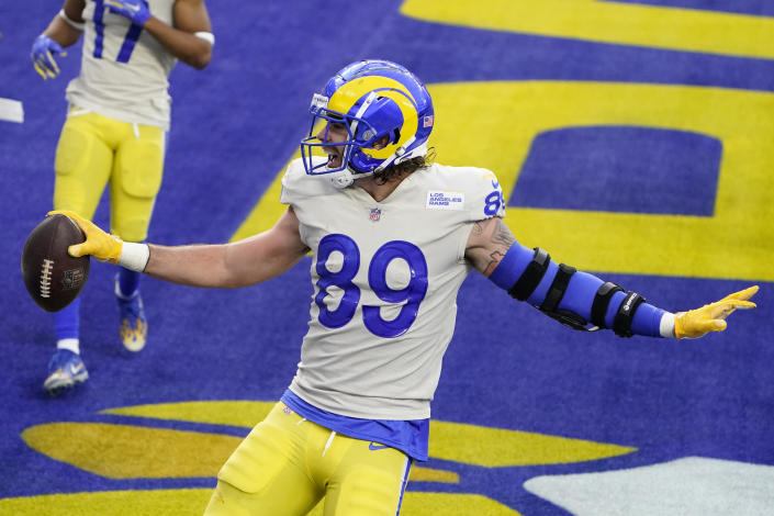 Los Angeles Rams tight end Tyler Higbee (89) celebrates after catching a touchdown during the second half of an NFL football game against the New York Jets Sunday, Dec. 20, 2020, in Inglewood, Calif. (AP Photo/Jae C. Hong)