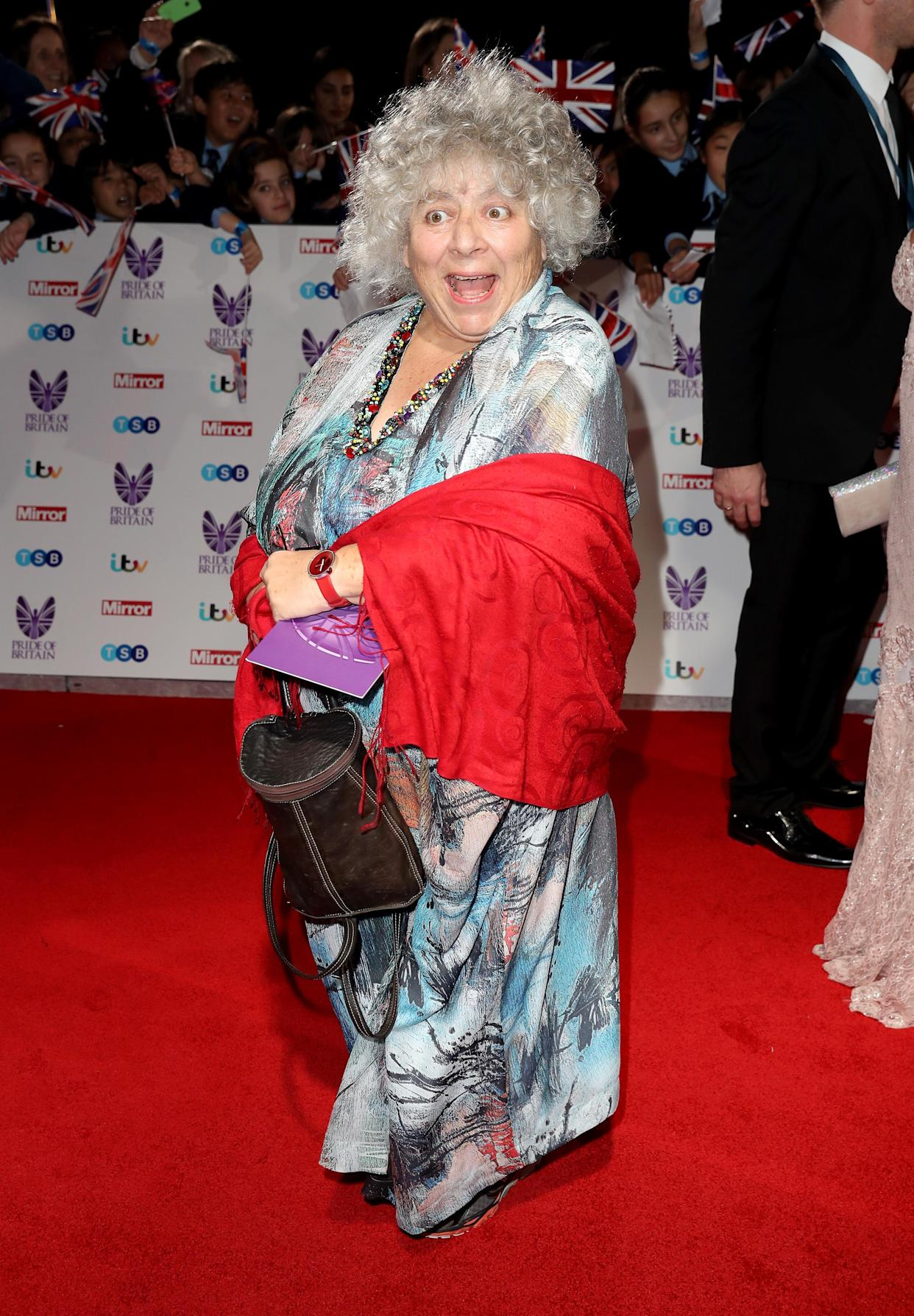 LONDON, ENGLAND - OCTOBER 31:  Miriam Margolyes attends the Pride Of Britain awards at the Grosvenor House Hotel on October 31, 2016 in London, England.  (Photo by Chris Jackson/Getty Images)