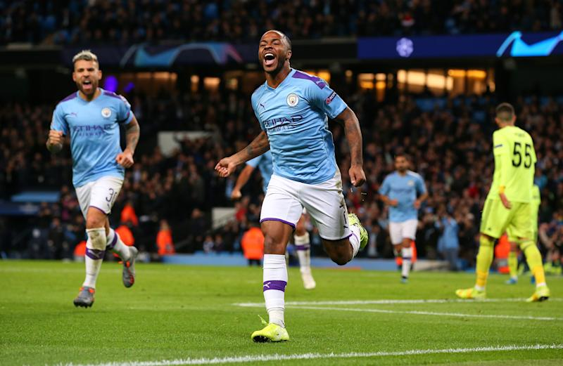 MANCHESTER, ENGLAND - OCTOBER 01: Raheem Sterling of Manchester City celebrates after scoring the opening goal during the UEFA Champions League group C match between Manchester City and Dinamo Zagreb at Etihad Stadium on October 01, 2019 in Manchester, United Kingdom. (Photo by Alex Livesey - Danehouse/Getty Images)