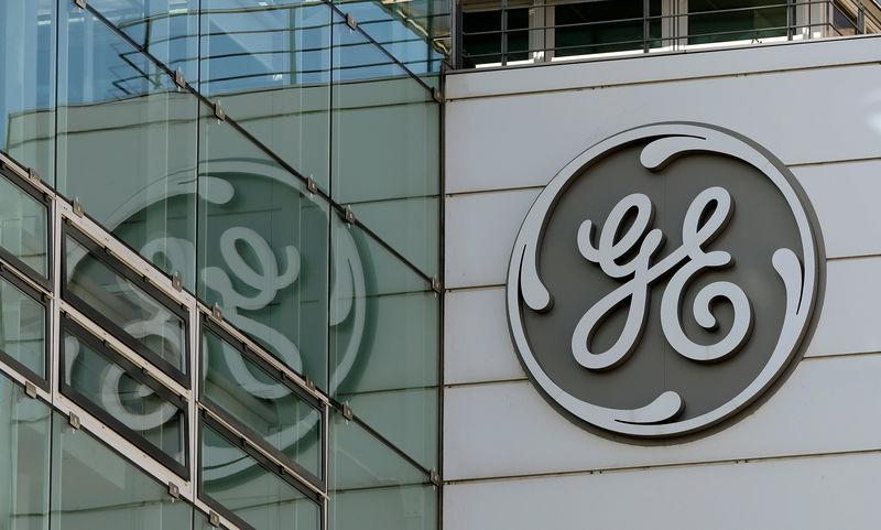 FILE PHOTO: The logo of General Electric is seen at its plant in Baden, Switzerland November 15, 2017. REUTERS/Arnd Wiegmann/File Photo