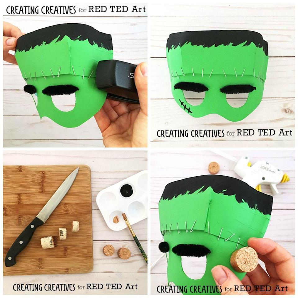 """<p>Transform your kids to into Dr. Frankenstein's terrifying creation with this fun paper plate mask. </p><p><strong><em>Get the tutorial at <a href=""""https://www.redtedart.com/paper-plate-frankenstein-mask-template"""" rel=""""nofollow noopener"""" target=""""_blank"""" data-ylk=""""slk:Red Ted Art"""" class=""""link rapid-noclick-resp"""">Red Ted Art</a>. </em></strong></p>"""