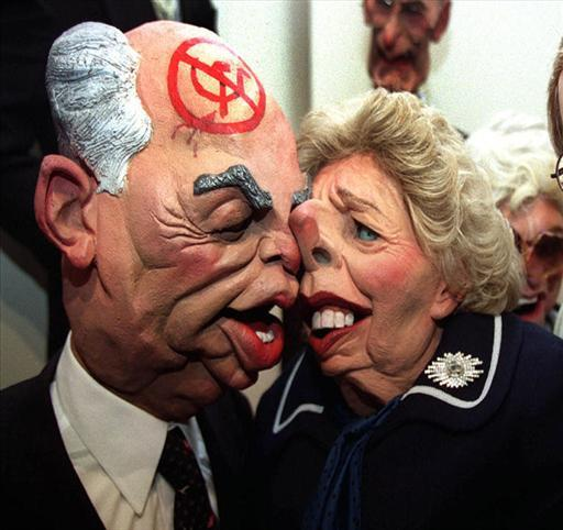 Spitting Image tv puppets of Mikhail Gorbachev, former Russian President, and Margaret Thatcher, former British Prime Minister, photo